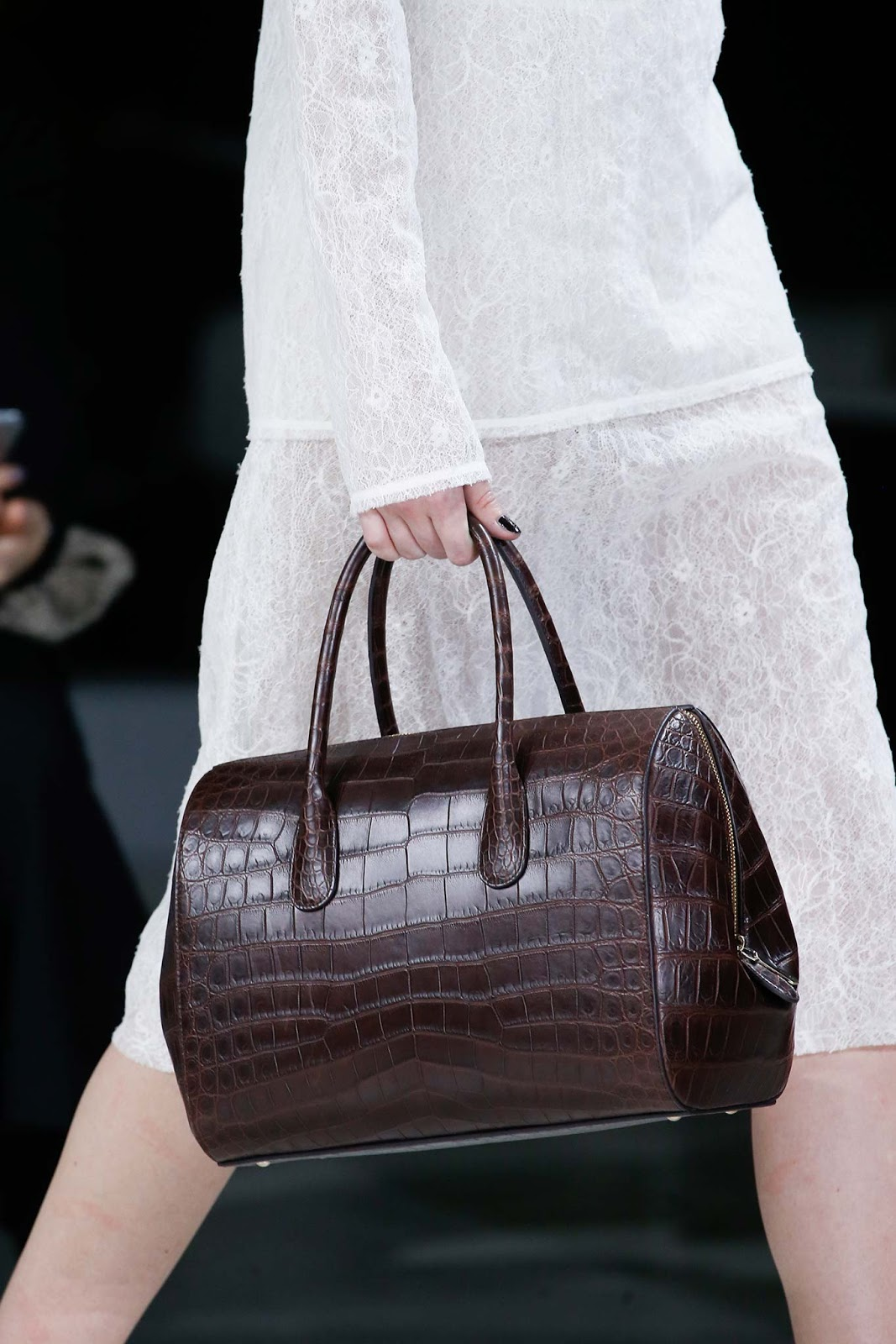 Fall 2015 accessories trend report / best bags / investment bags / crocodile accessories trend at Nina Ricci Fall/Winter 2015 via fashionedbylove.co.uk, british fashion blog