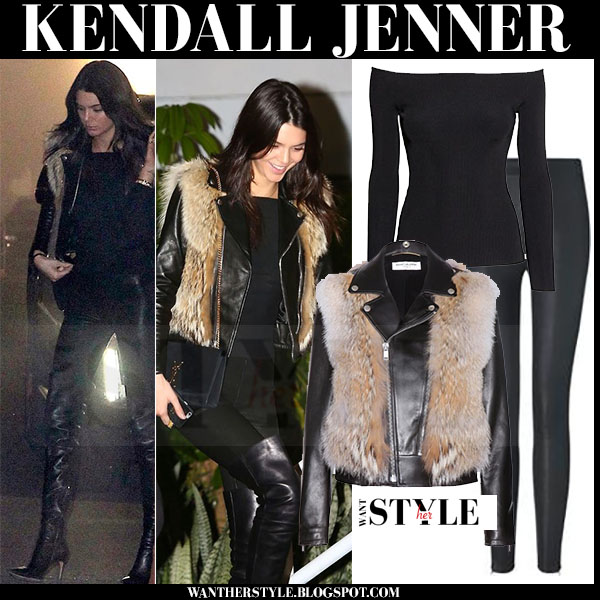 Kendall Jenner in black leather and fur jacket, black leggings and black thigh boots what she wore model winter style