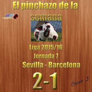 Sevilla 2-1 Barcelona. Liga 2015/16. Jornada 7. El pinchazo de la semana.