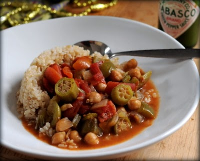 Vegan Chickpea Gumbo, packed with spicey, smoky flavor.