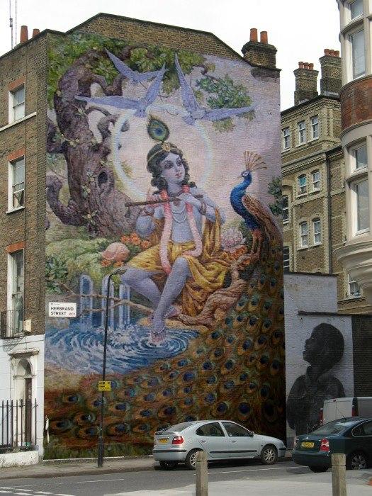 Krishna1008 krishna mural on building for Building wall mural