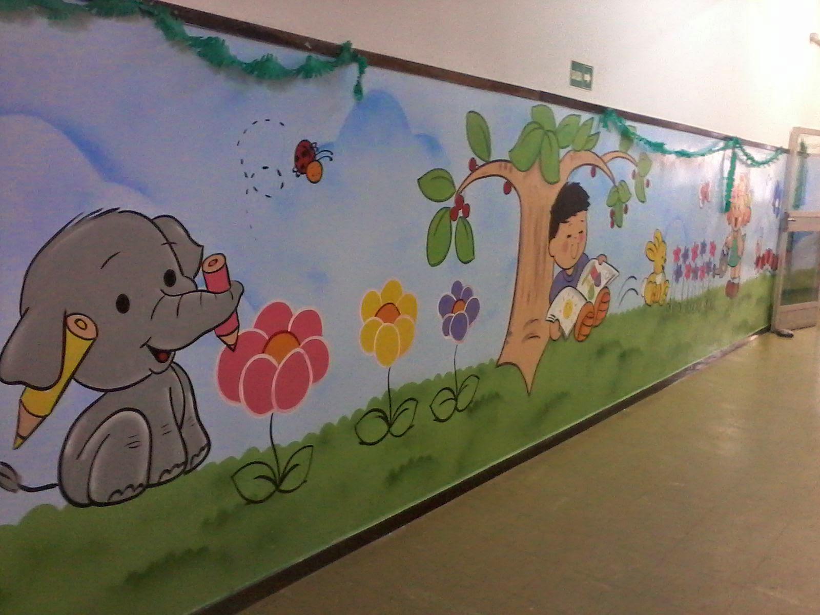 Will arte graffiti centro de educa o infantil for Como pintar un mural exterior
