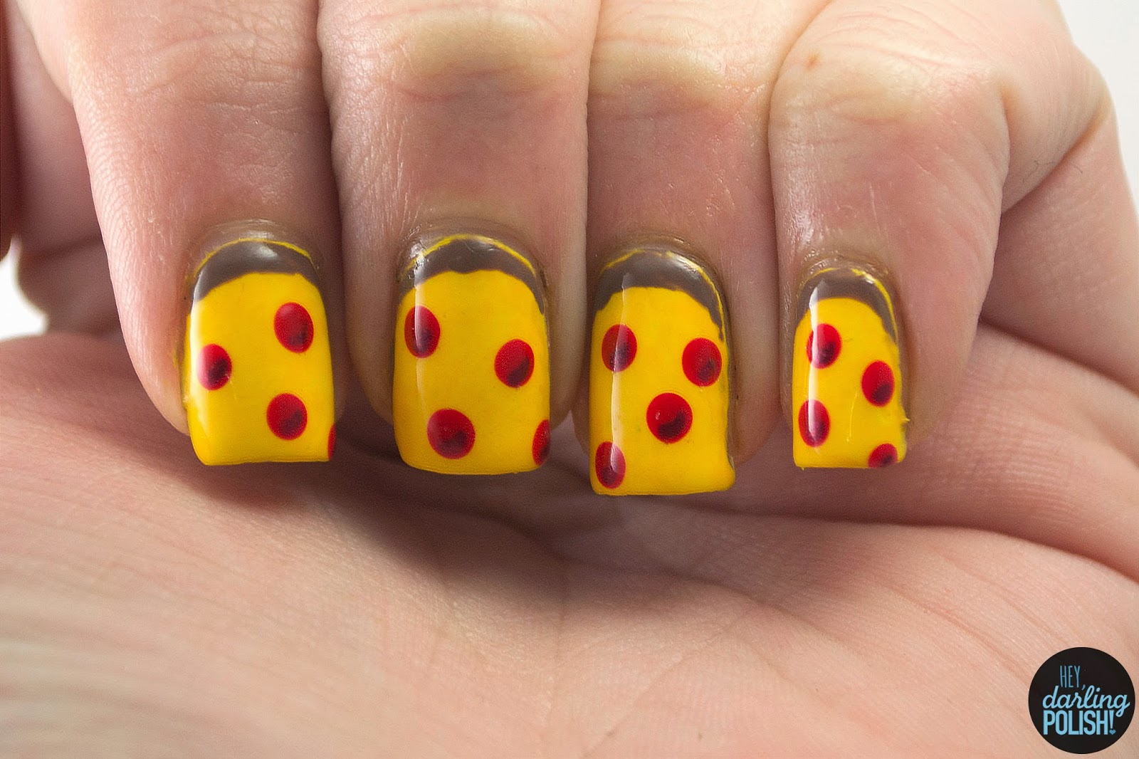 nails, nail art, nail polish, polish, pizza, pepperoni, hey darling polish, theme buffet