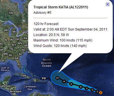 Tropisches Tief #12 wird zum Tropischen Sturm KATIA (nicht Katja) und zieht zur nördlichen Karibik, wo er wahrscheinlich als Hurrikan ankommt, 2011, aktuell, Atlantik, August, Dominikanische Republik, Hurrikansaison 2011, Katia, September, Verlauf, Vorhersage Forecast Prognose, Zugbahn,