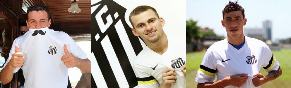 Jogadores contratados pelo Santos em 2014 (Leandro Damião, Lucas Lima e Rildo)
