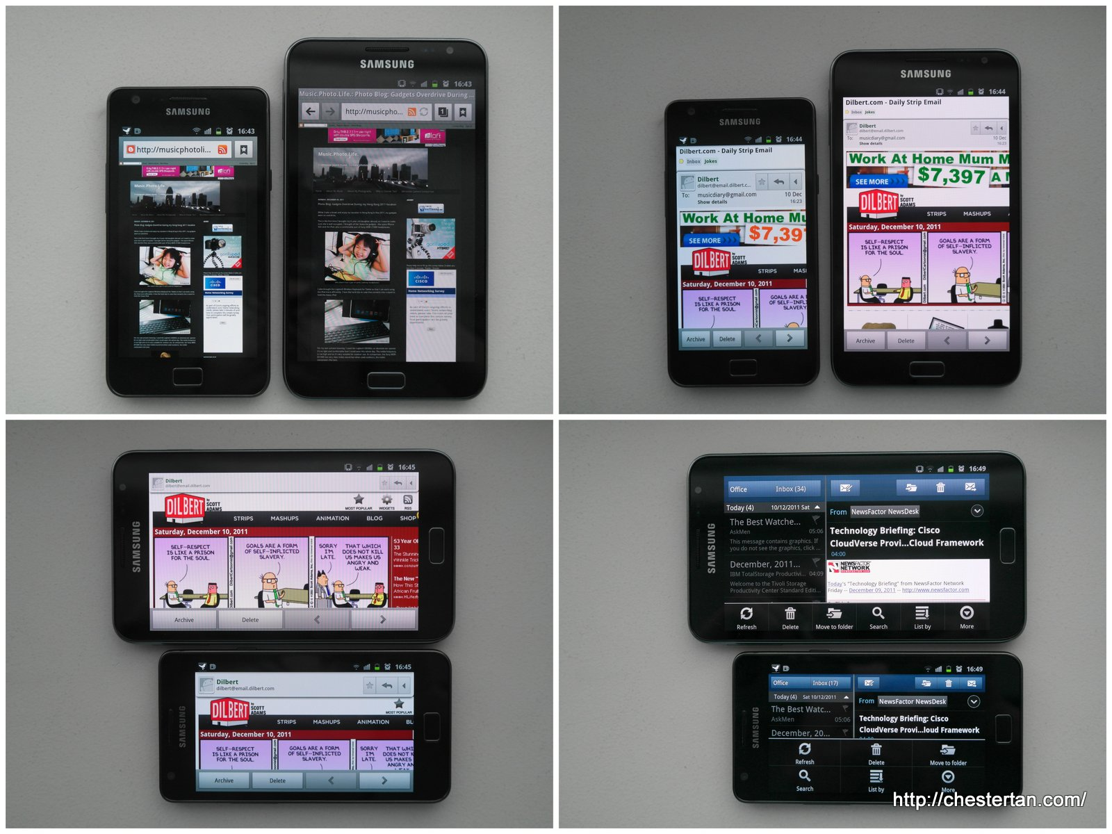 Galaxy SII's 800x480 vs. Galaxy Note's 1280x800
