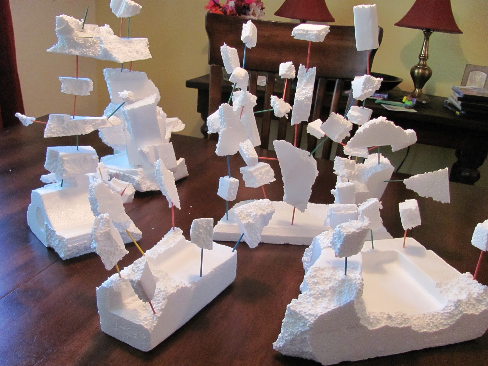 The chocolate muffin tree recycled styrofoam sculptures for Cool recycling projects