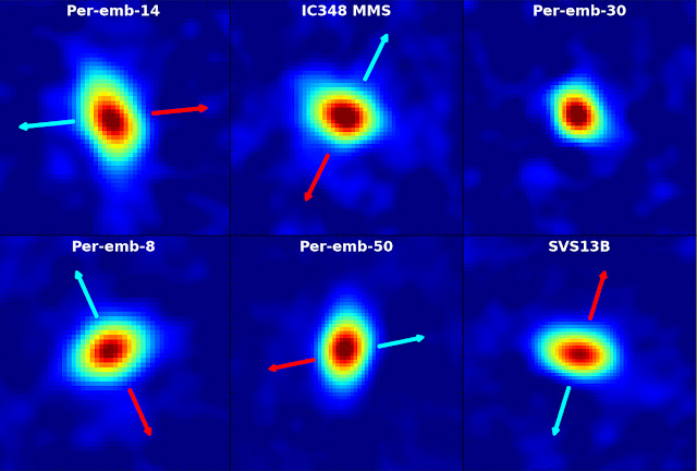 Disks of material surrounding young stars in the Perseus Molecular Cloud, imaged with the VLA. Arrows indicate the direction of outflows from the young systems. Credit: Segura-Cox, et al., NRAO/AUI/NSF.