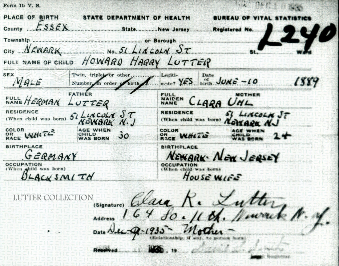 Family history research by jody gleanings from the life of a musician birth record for howard harry lutter available at the new jersey state archives trenton aiddatafo Images