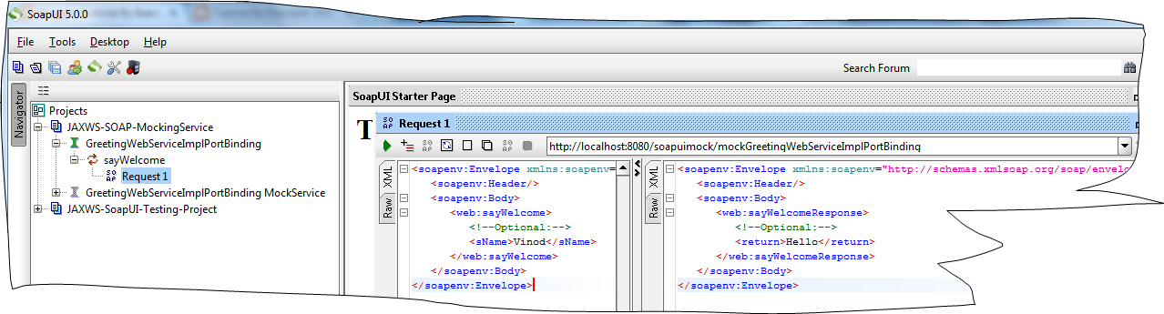 Deploying SOAP Web Services as Mock Service By SoapUI WAR in Tomcate request & response