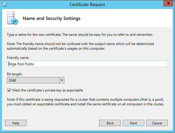 Lync certificate planning and assignments the friendly name can is only for better identification of the certificate in the store yelopaper Gallery
