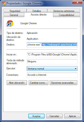 Malicious properties shortcut Websearch.searchtotal.info