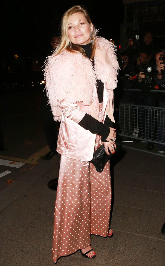 Kate Moss in vintage pajama suit