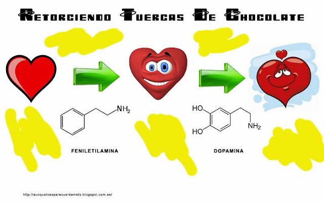 retorciendo tuercas de chocolate ilustracion transformacion corazon feniletilamina dopamina