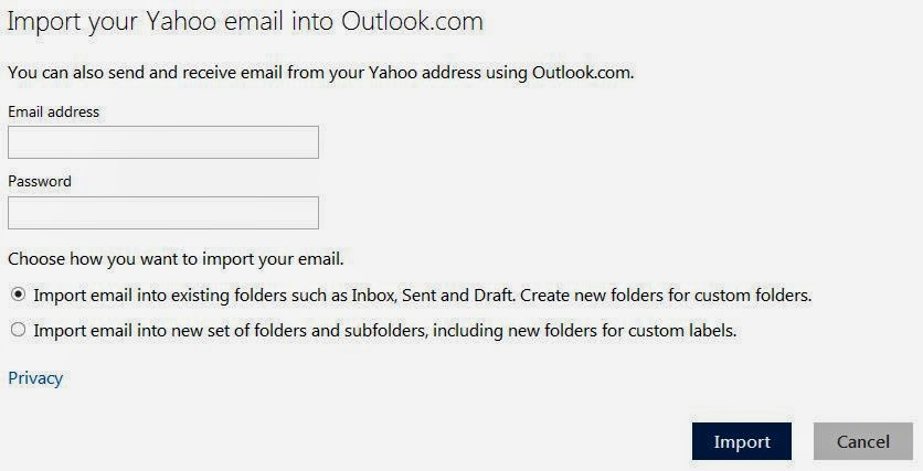 Import Yahoo to Outlook.com