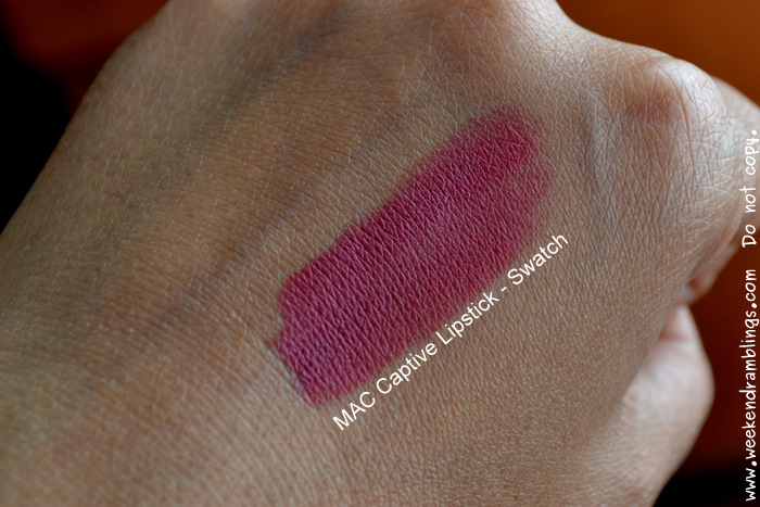 MAC Makeup Cosmetics Captive Lipstick Beauty Blog Reviews Swatches FOTD Looks