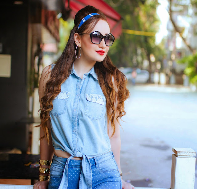 Chambray Knotted Top, Retro Pentagon Sunglasses, Retro denim on denim outfit