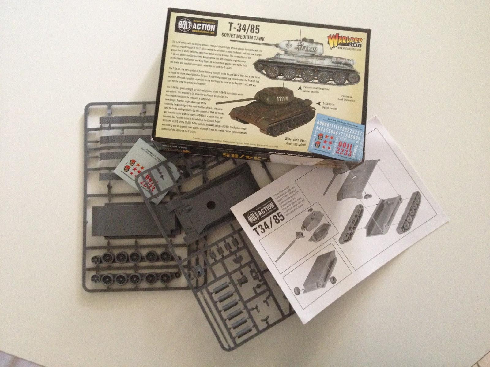 Contenu de la boite du T34/85 Warlord Games