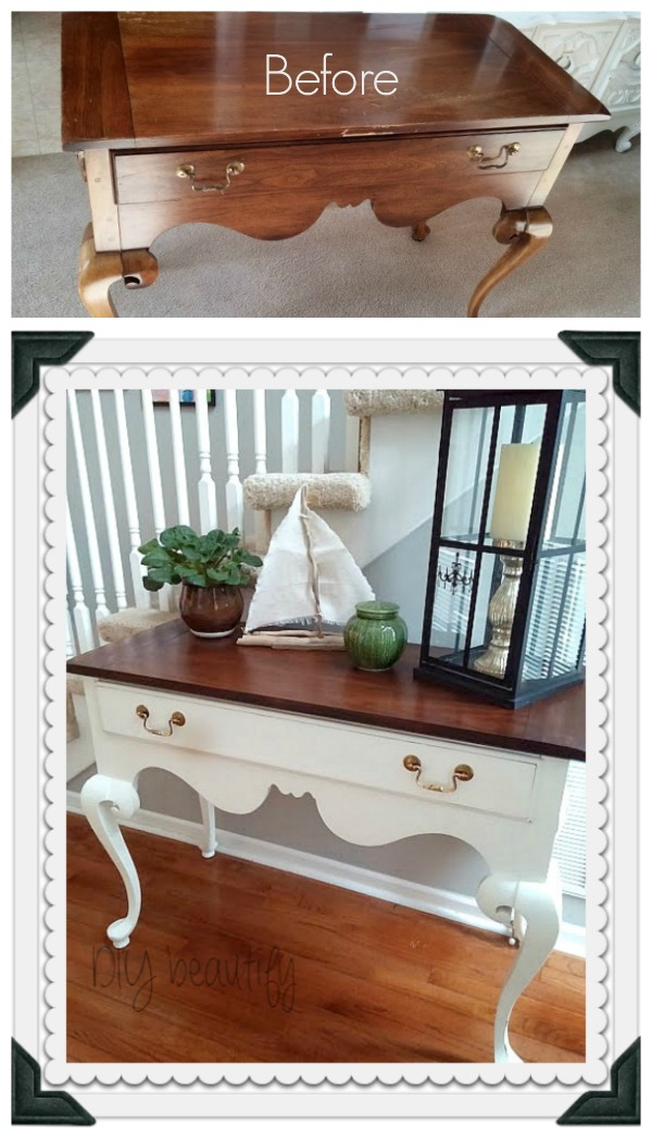 console table with stained top, white-painted bottom