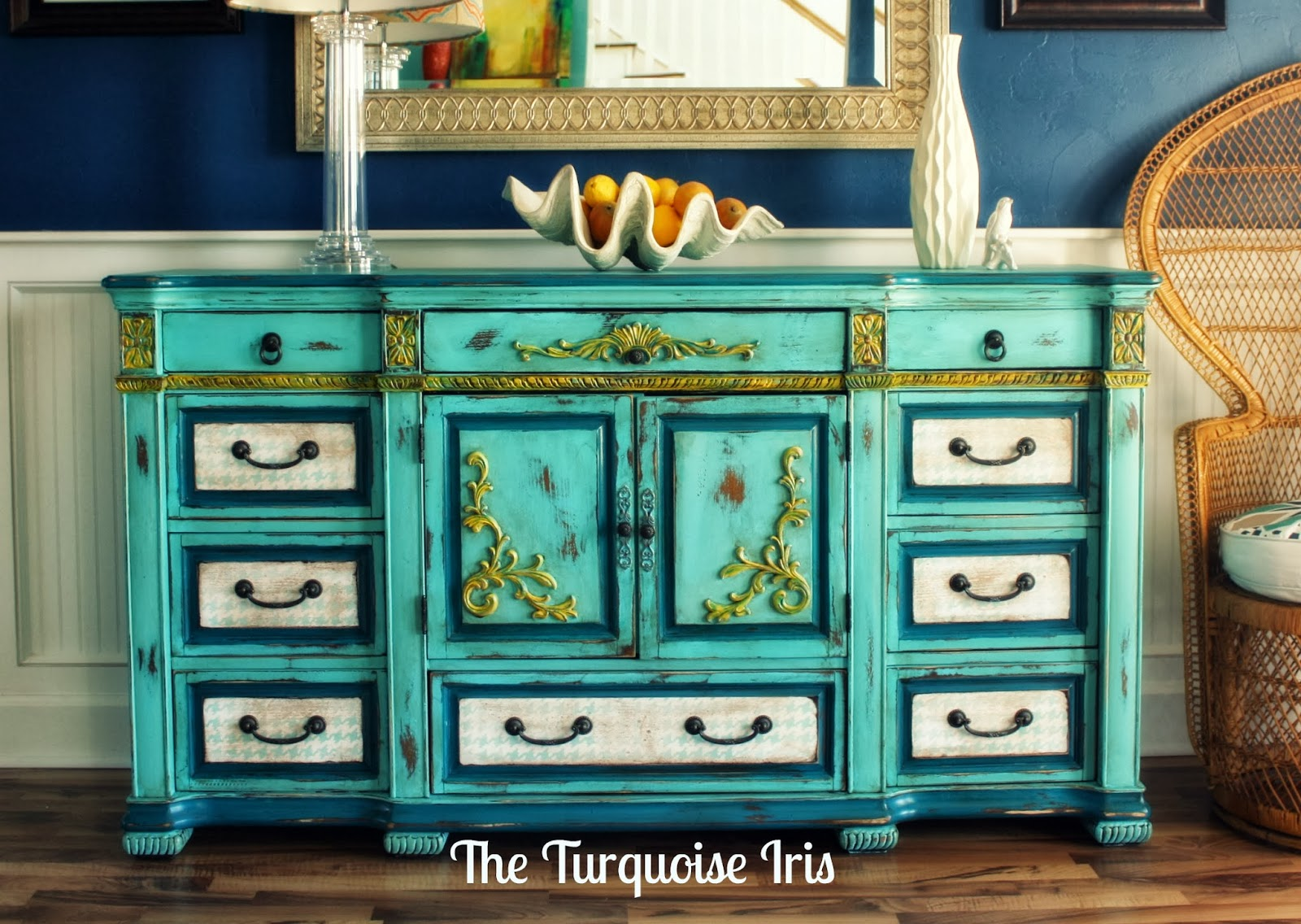 Superieur The Turquoise Iris ~ Furniture U0026 Art: Turquoise Dresser With Houndstooth  Drawers