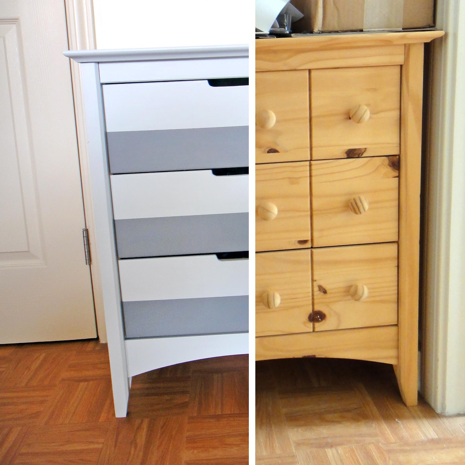 The gilded hare gray stripe dresser makeover - Before and after old dressers makeover with a little paint ...