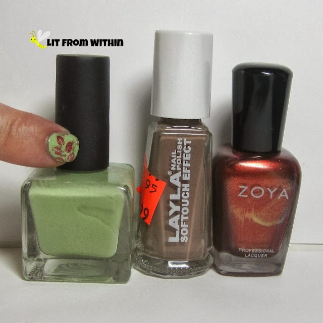 bottle shot:  Urban Outfitters Girrl Like You, Layla Softouch 11, and Zoya Channing
