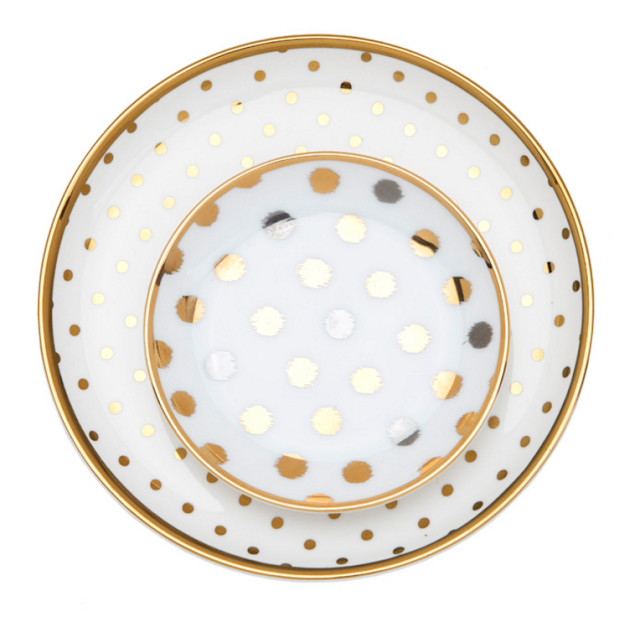 assiettes pois or doré homesense