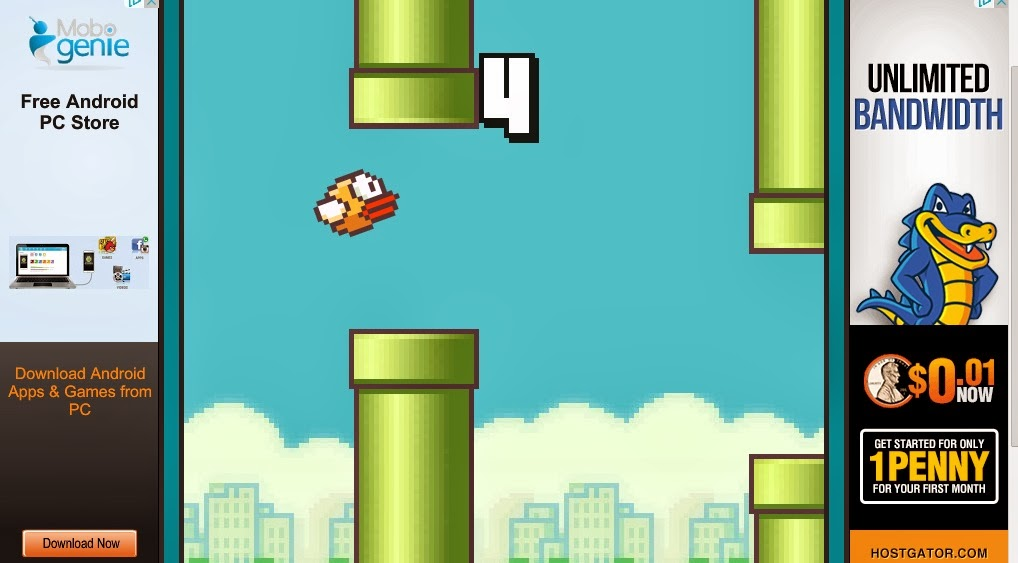 Play flappy bird online on PC without Android or smartphone