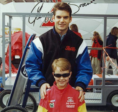 A young Jeff Gordon with an even younger Trevor Bayne.