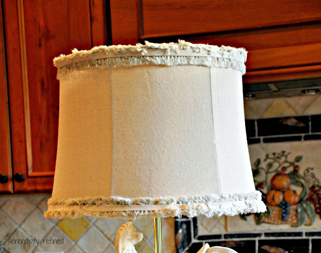 Chalk paint French rooster kitchen lamp linen shade makeover