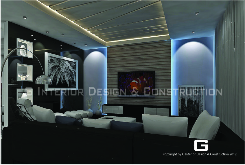Living hall design plaster ceilnig tv console