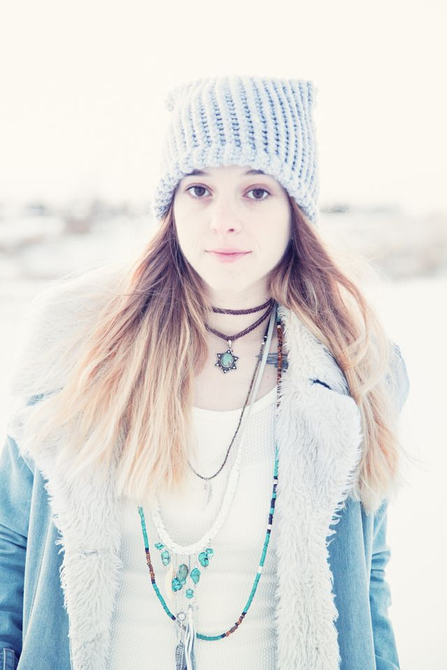 Bohemian jewelry winter photo shoot