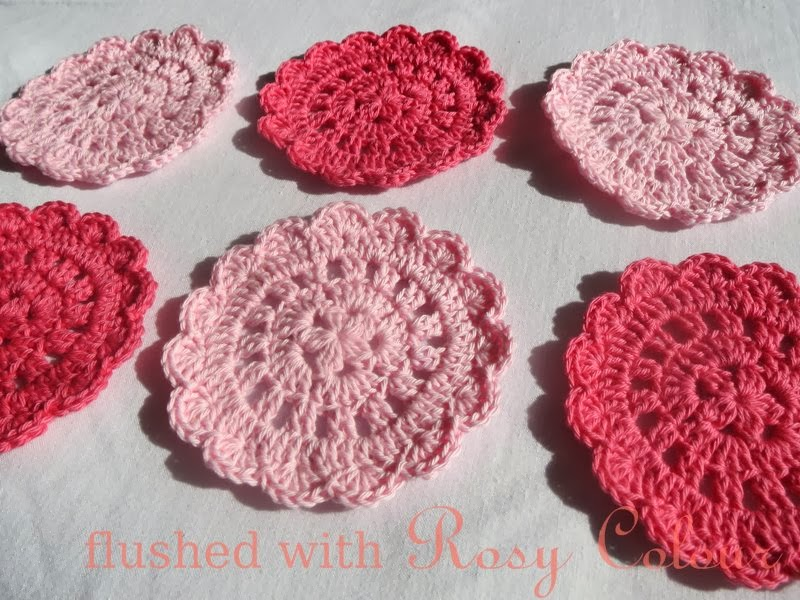 Flushed With Rosy Colour Tiny Flower Doily Coaster Free