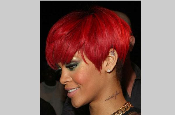 Rihanna Neck rebelle Fleur Script Tattoos