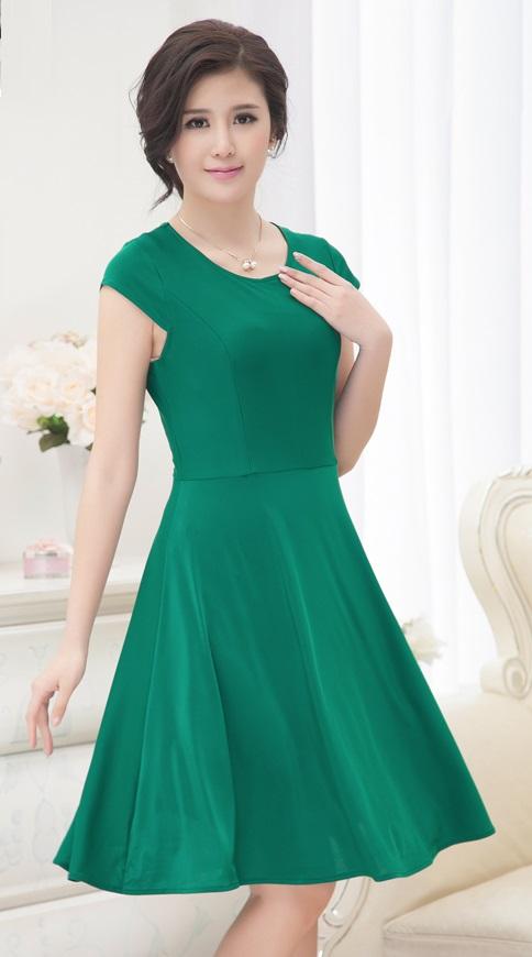 Short Sleeve Round Collar Ice Silk Pass Knee Length Dress