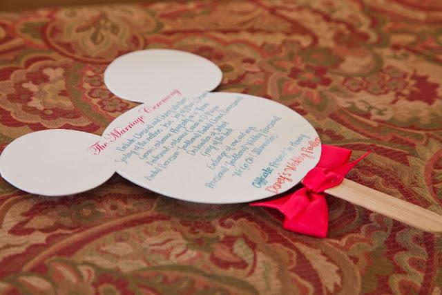 Walt Disney World Wedding - Mickey Program Fans