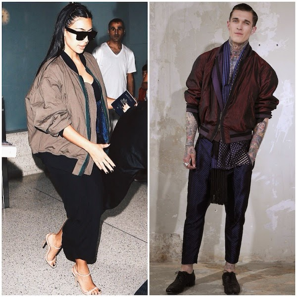 Kim Kardashian in Haider Ackermann sand brown coloured reversible bomber jacket LAX airport 2nd August 2014