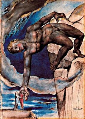 Anteu condueix Dante i Virgili al final del novè cercle (William Blake)