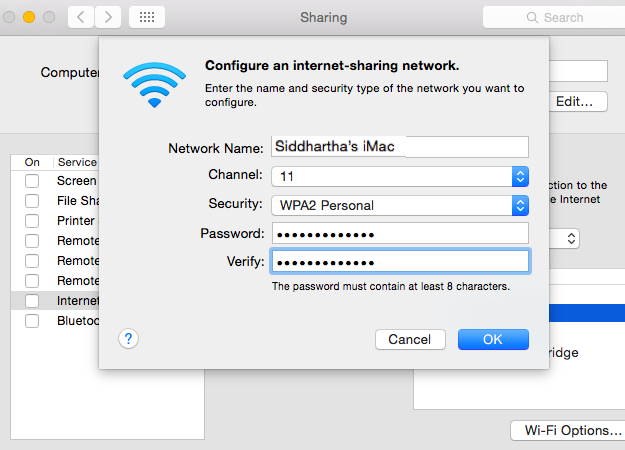 broadcast internet from mac