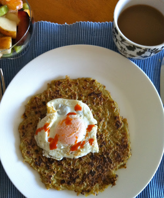 Southernspoon blog: big potato latkes with fried eggs