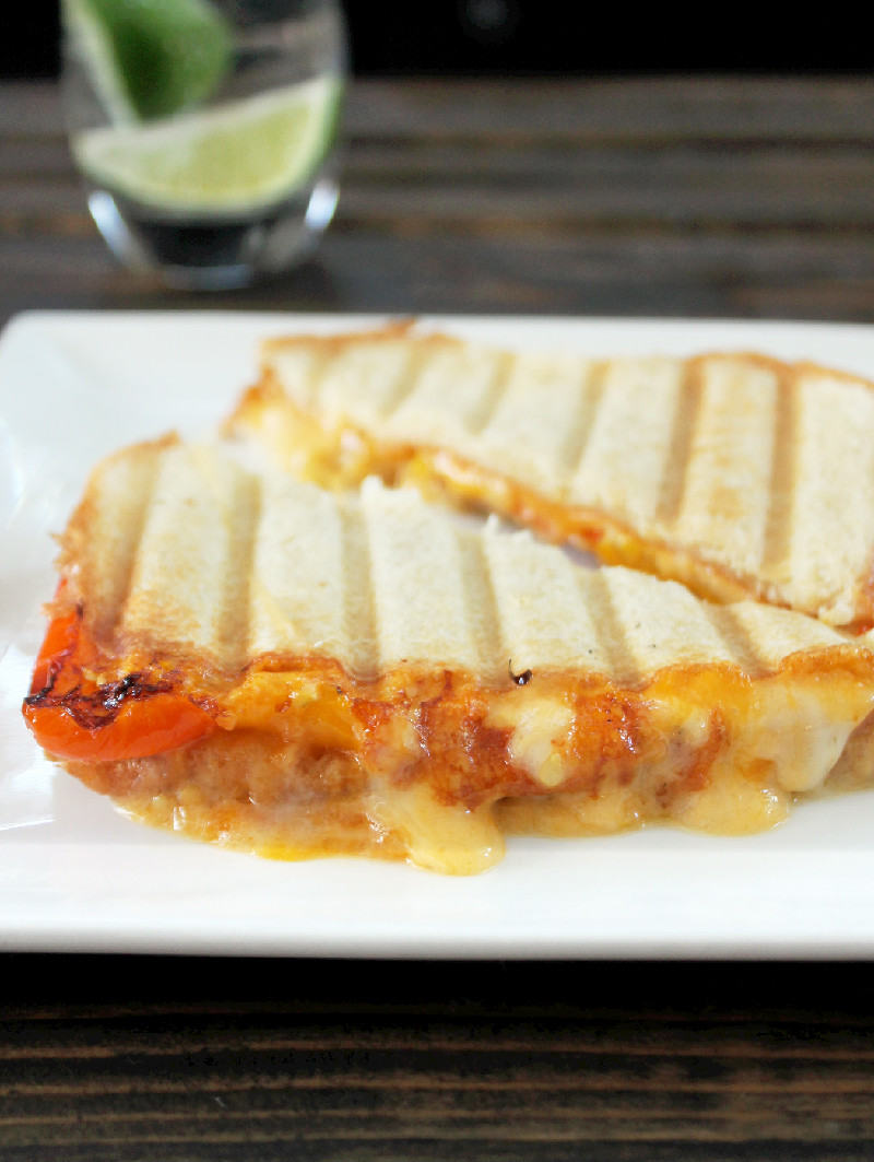 Roasted Peppers Grilled Cheese - Not Quite a Vegan