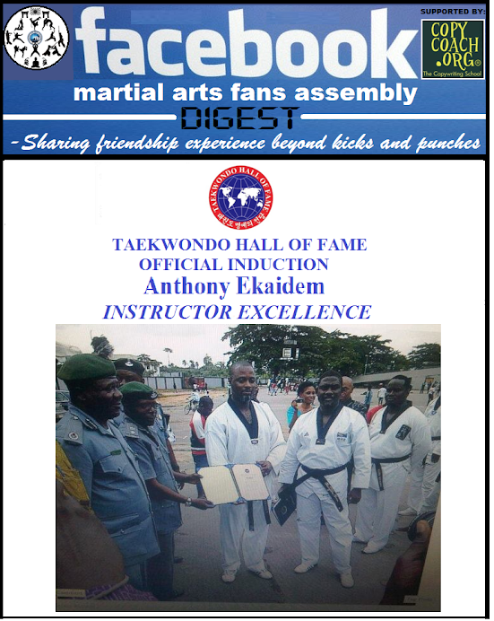 TAEKWONDO HALL OF FAME AWARD OF Instructor Excellence TO NIGERIAN BLACKBELT