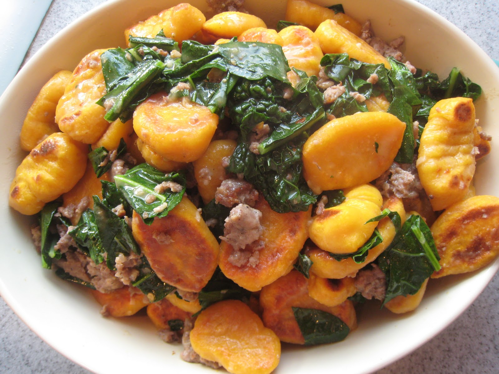 ... to My Family's Heart: Butternut Squash Gnocchi with Sausage and Kale