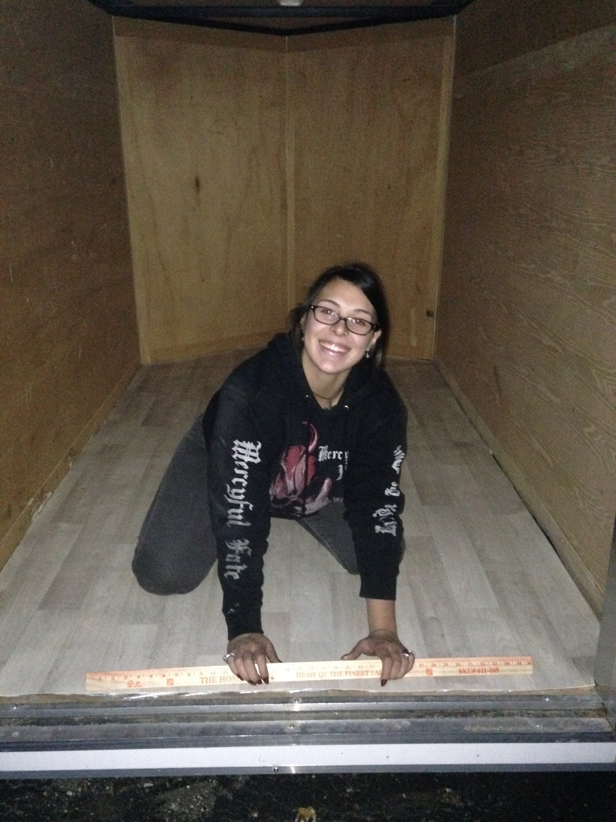 Snake mountain woman the conversion from cargo to camper for Install bathroom in enclosed trailer