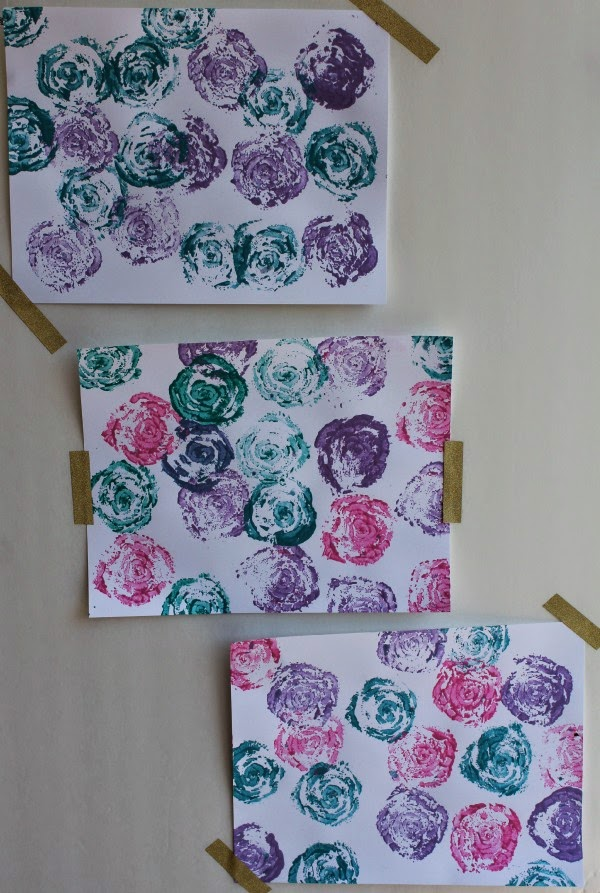 diy celery stamp rose artwork