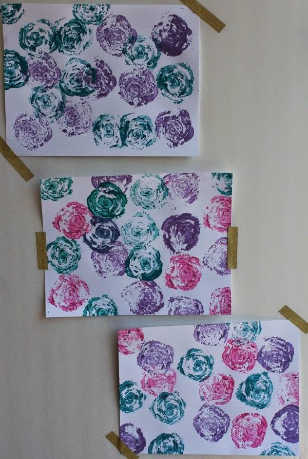 diy celery stamp rose artwork
