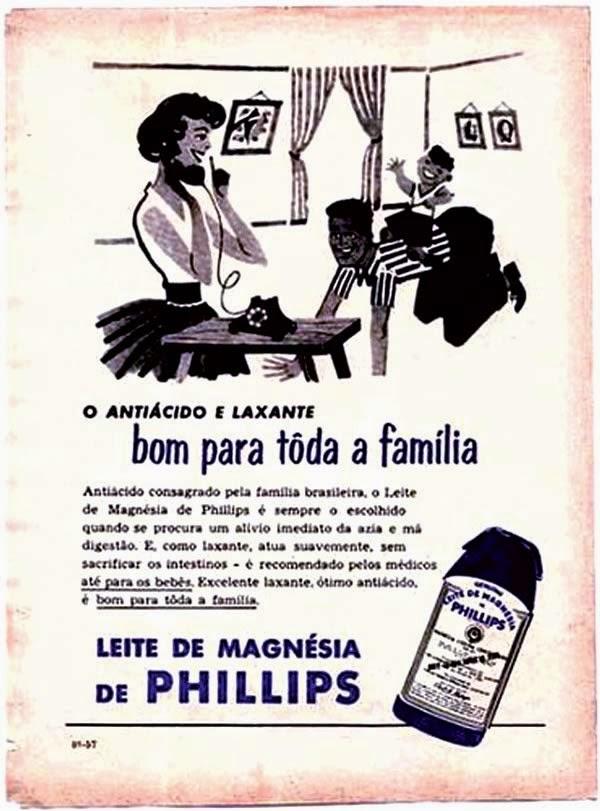 Propaganda do Leite Magnésia Philips, anos 40.