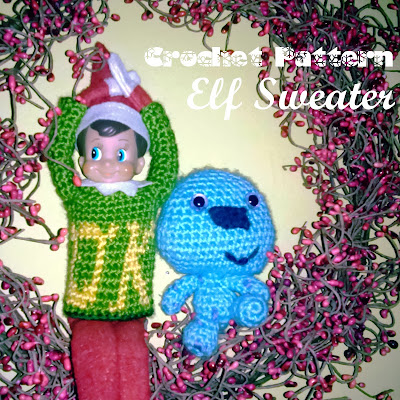 Free Crochet Pattern for the Oozma Kappa Sweater from Monsters U for your Elf on the Shelf
