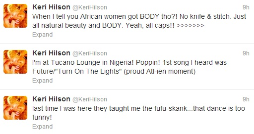 Kerri Hilson In Nigeria, Tweets Her Love For Natural Beauty & Body Of ...