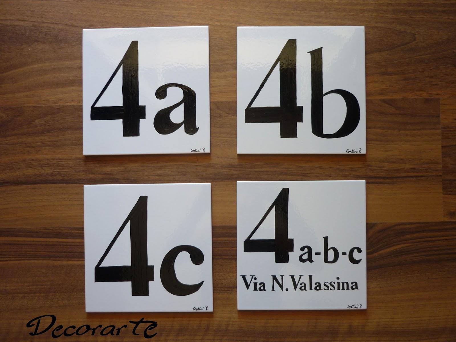 Numeri civici personalizzati: numeri civici classici su piastrelle